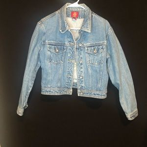 Denim Jacket with embroidered flowers in back